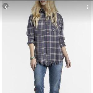 MM Vintage fringe hem flannel shirt